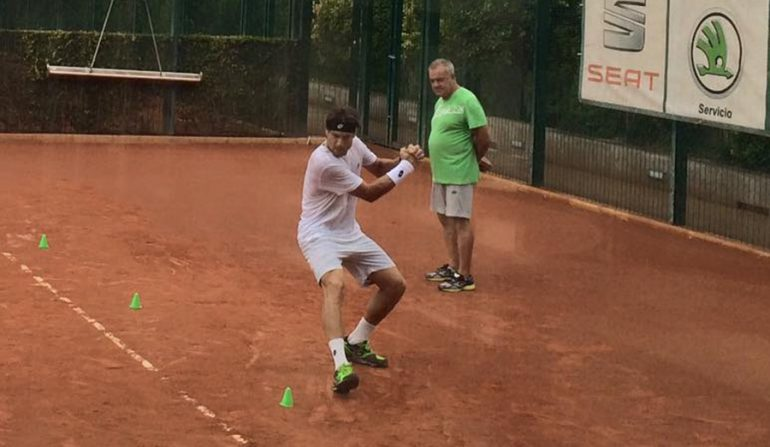 David Ferrer en plena sesión de recuperación