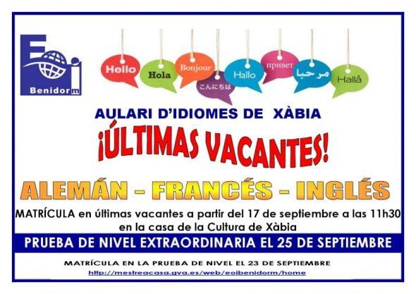 Escuela Oficial de Idiomas Jávea - plazas vacantes