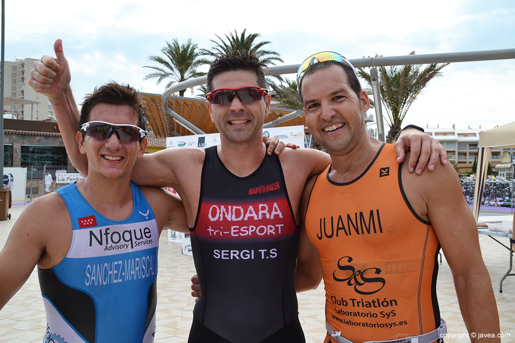 Los tres primeros clasificados masculinos olímpico