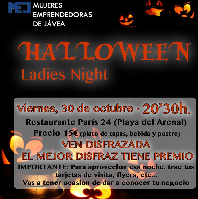 Cartel de la Ladies Night de Halloween en Jávea