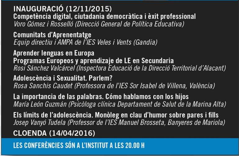 Ciclos de conferencias del IES Antoni Llidó