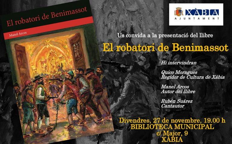 """Cartel de la presentación del libro """"El Robatori de Benimasot"""""""