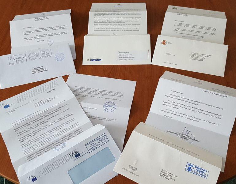 Cartas de contestación a los escolares del CEIP Vicente Tena