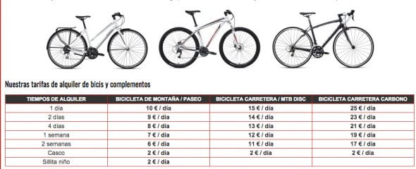 Tarifa alquiler de bicicletas Xabia's Bike