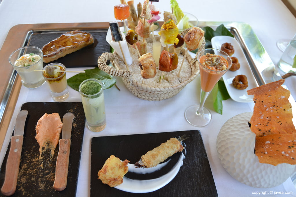 Aperitivos del menú Mediterráneo Restaurante El Rodat