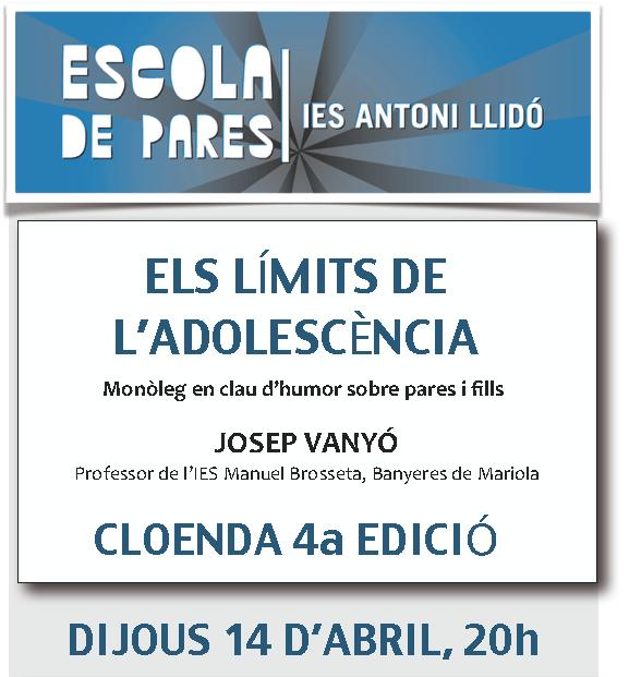Cartel de la clausura de la Escola de Pares del IES Antoni Llidó
