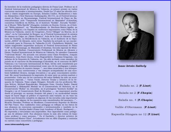 Programa del concierto del pianista István Székely