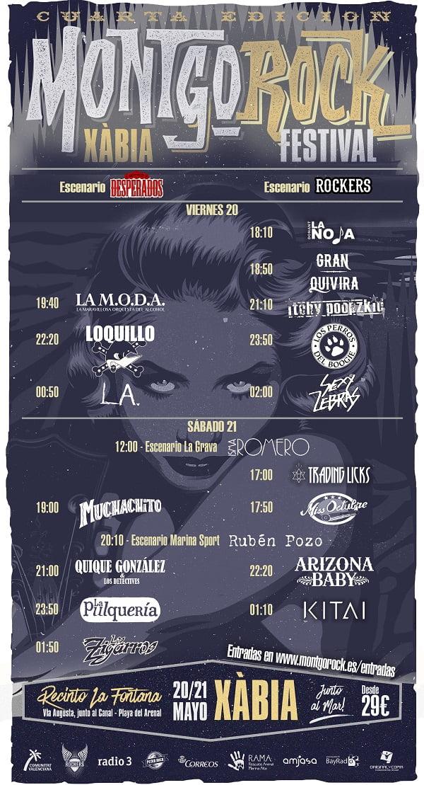 Cartel de horarios del IV Montgorock Xàbia Festival