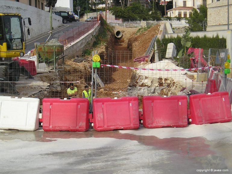 Obras de encauzamiento de pluviales en Xàbia