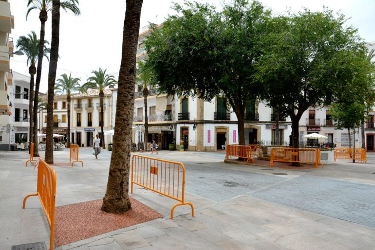Alcorques de árboles renovados en la placeta del Convent