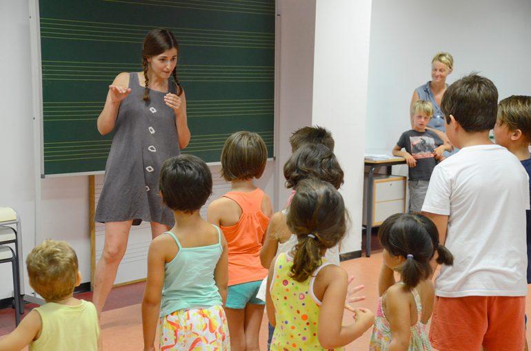 Una de las clases del taller de música