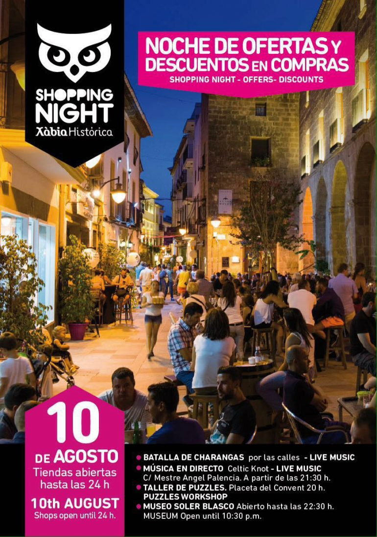Cartel de la 2ª Shopping Night en Xàbia
