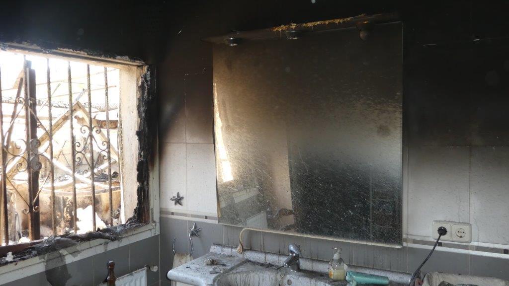 El baño de la casa estaba quemado