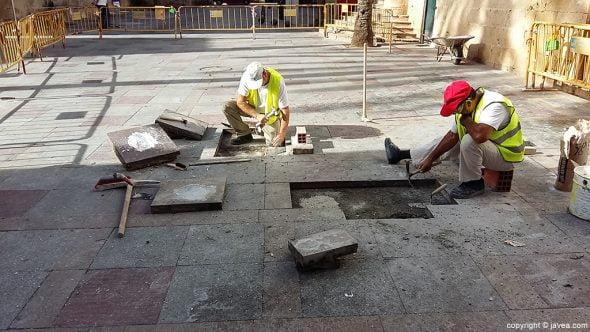 Trabajo de pavimentación