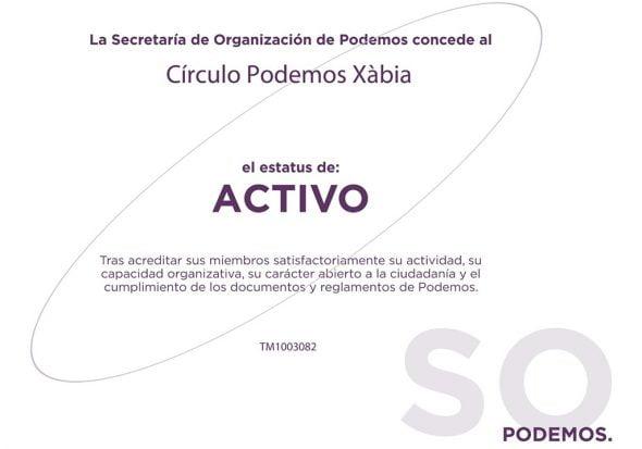 Certificado Círculo Podemos