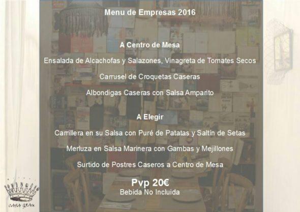 Menú de empresas 2016 Casa Grau