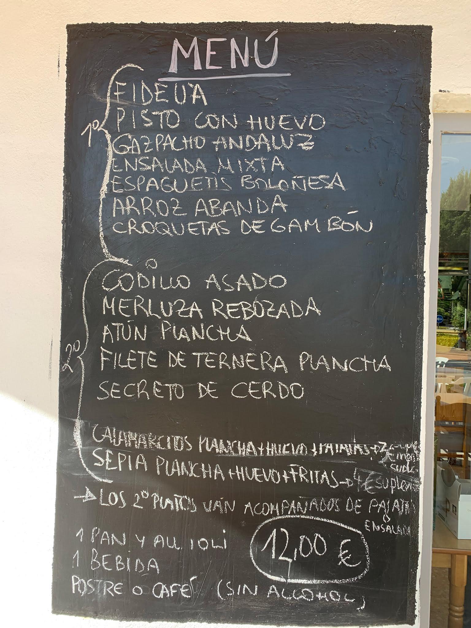 Menú mediodía Jávea – Bar La Coca