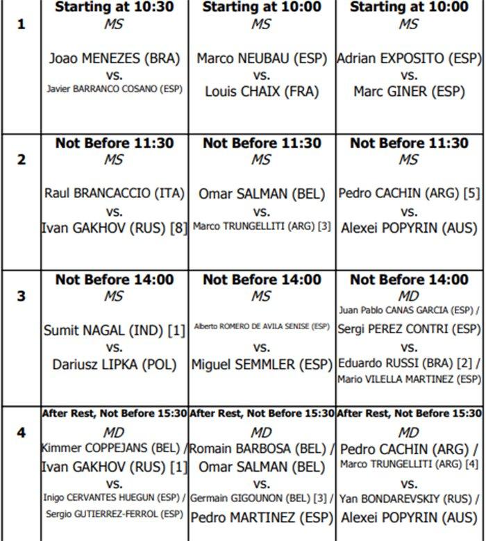 Orden de juego Miércoles Tenis