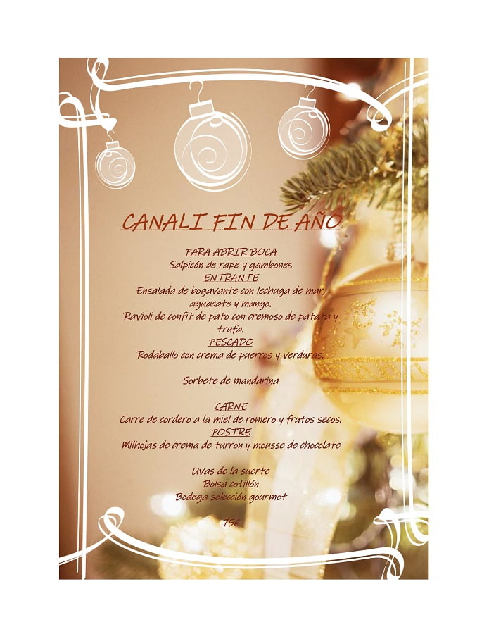 Menú Fin de año Restaurante Canali