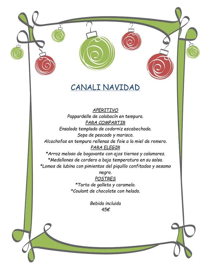 Menú Navidad Restaurante Canali