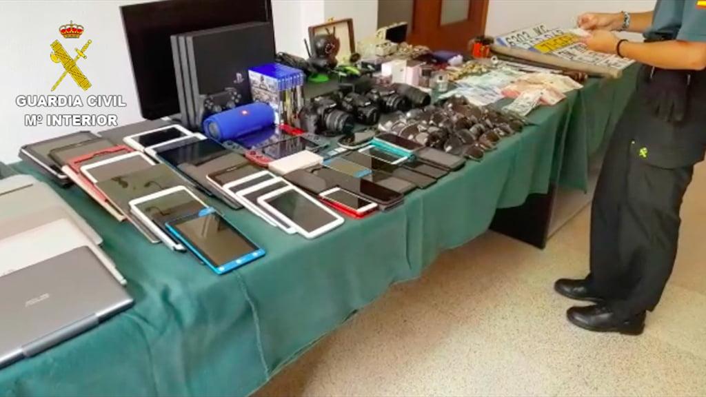 Objetos recuperados tras el robo