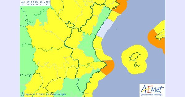 Mapa alerta amarilla por vientos