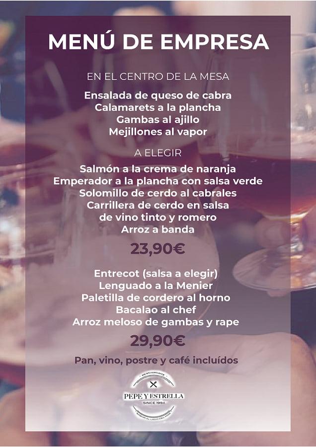 Menú empresa 2018 Restaurante Pepe y Estrella