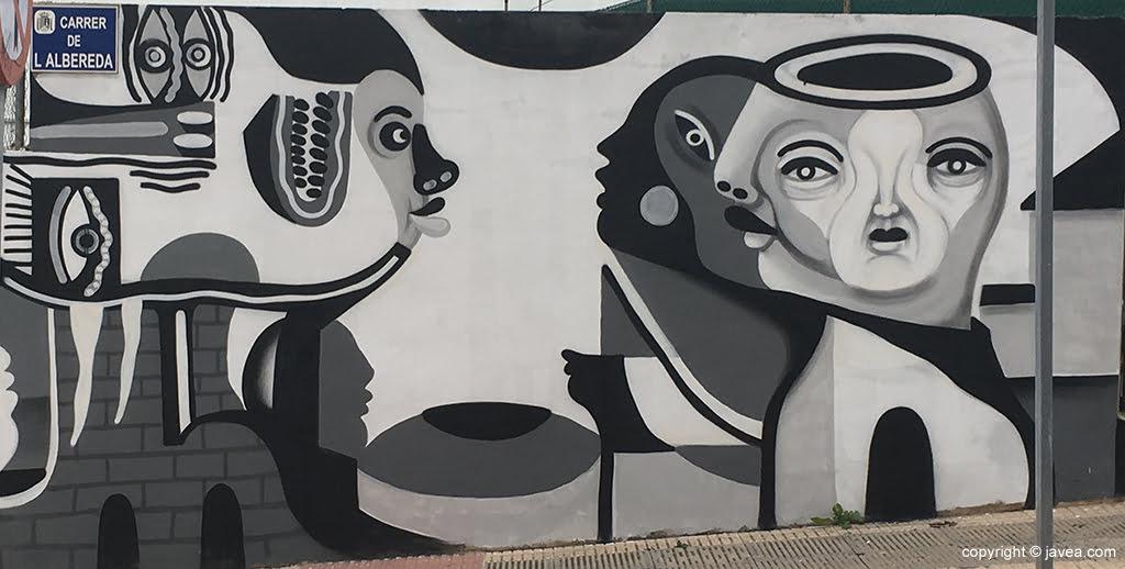 Parte del Mural pintando por Gabriel