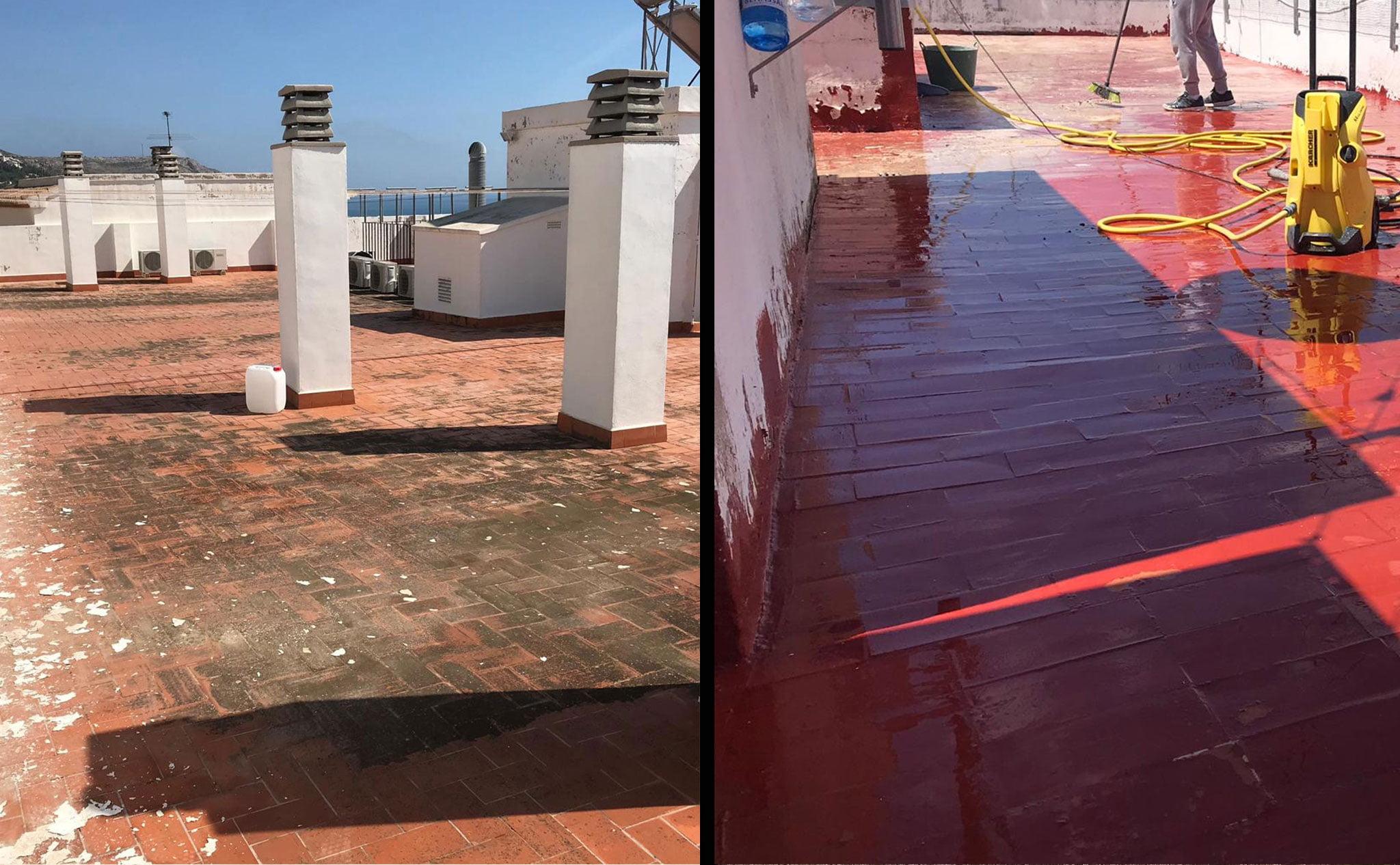 Antes y después del suelo de una azotea – Pinturas Juanvi Ortolà