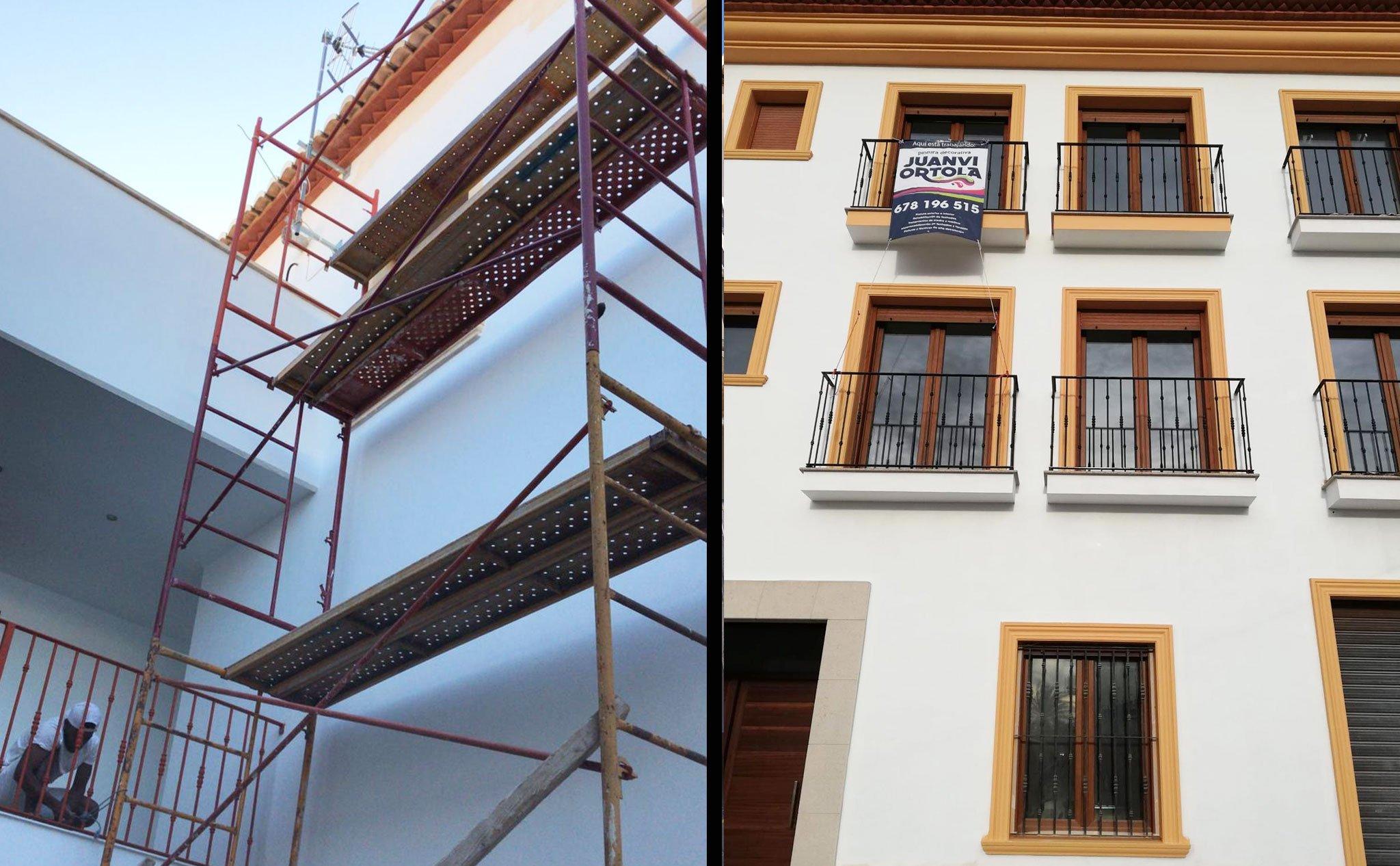 Antes y después de la pintura de una finca – Pinturas Juanvi Ortolà