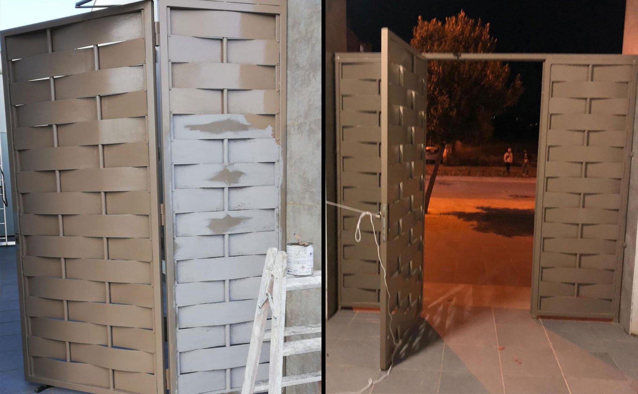 Antes y después de la pintura de una puerta – Pinturas Juanvi Ortolà