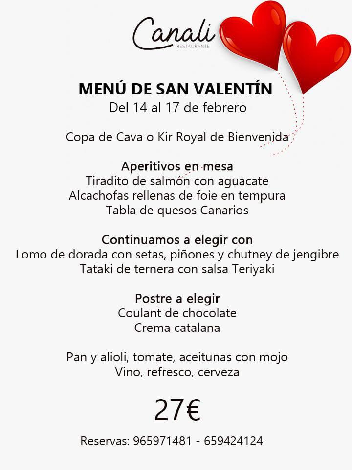 Menú de San Valentín de Restaurante Canali