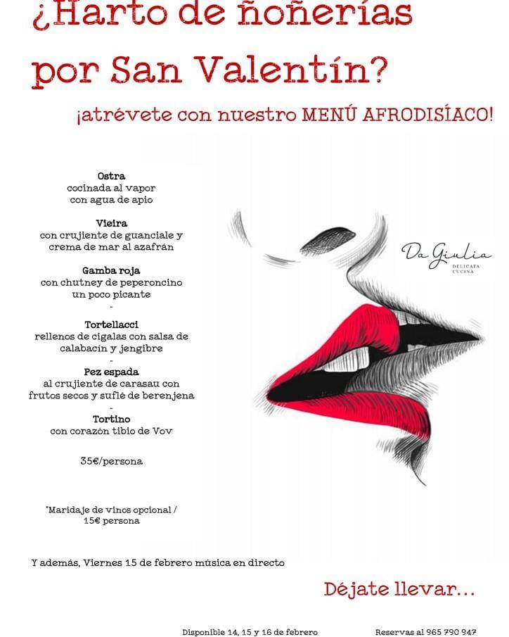 Menú San Valentín Restaurante Giulia