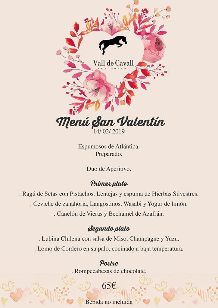 Menú Vall de Cavall San Valentín
