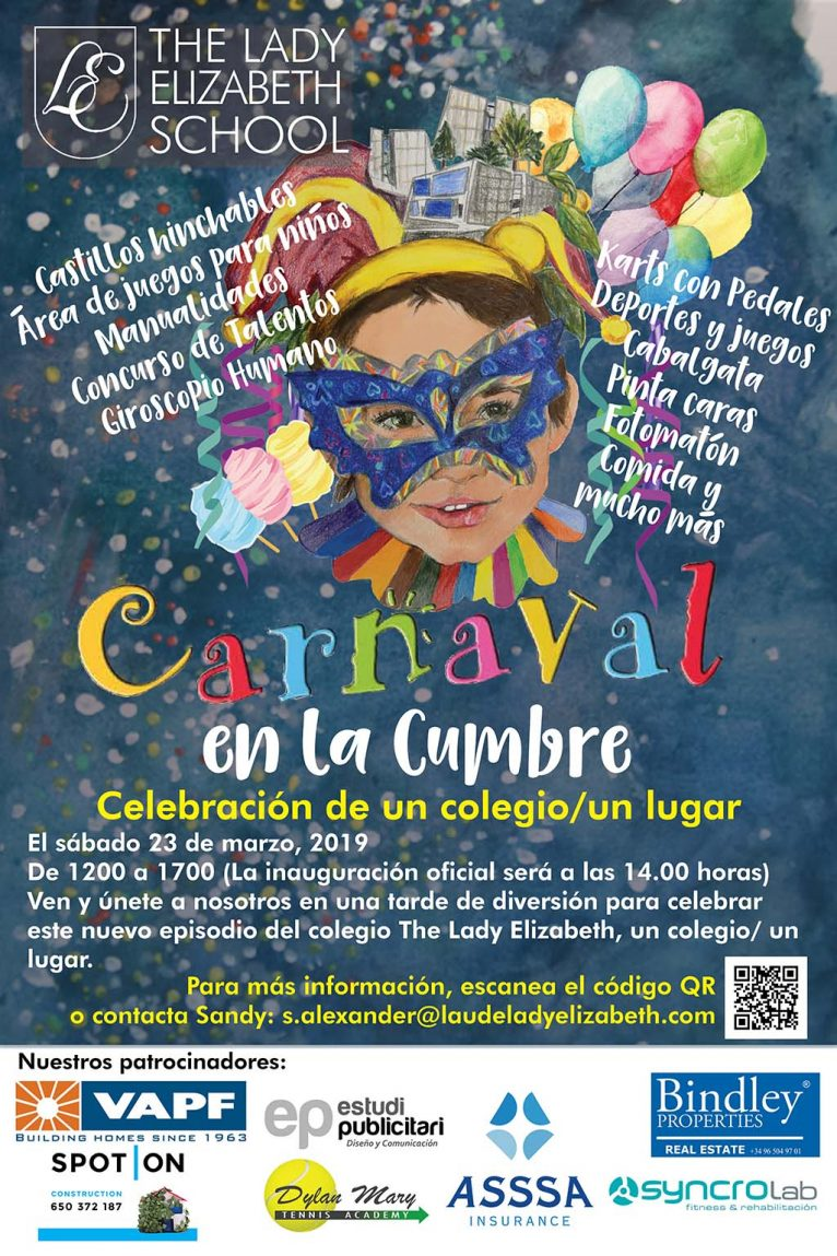 Cartel inauguración Lady Elizabeth School con un Carnaval