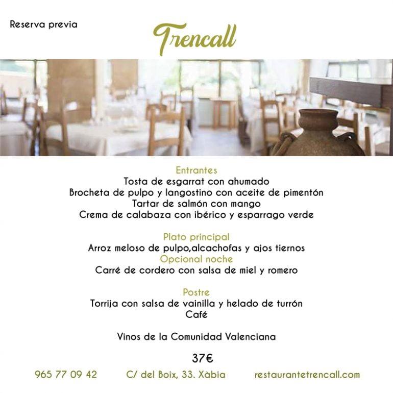 Restaurant Trencall Menú Xàbia al plat