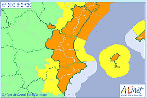 Image: pluie orange et avertissement temporaire