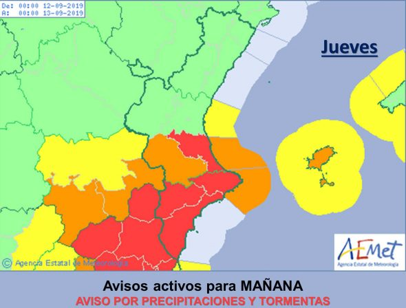 Image: Red alert for heavy rains in the Marina Alta