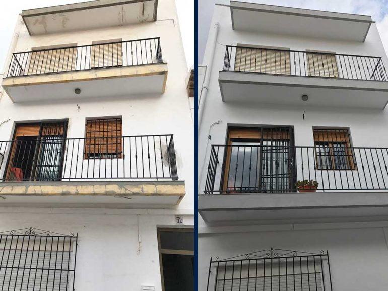 Abans i després de la pintura d'una façana - Pintures Juanvi Ortolà