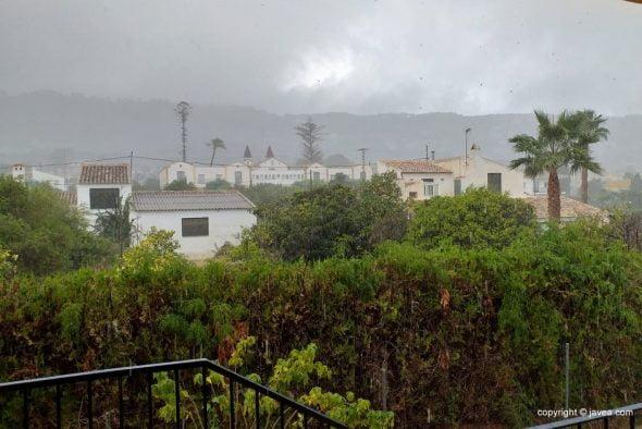 Imagen: Momento de la lluvia en Xàbia
