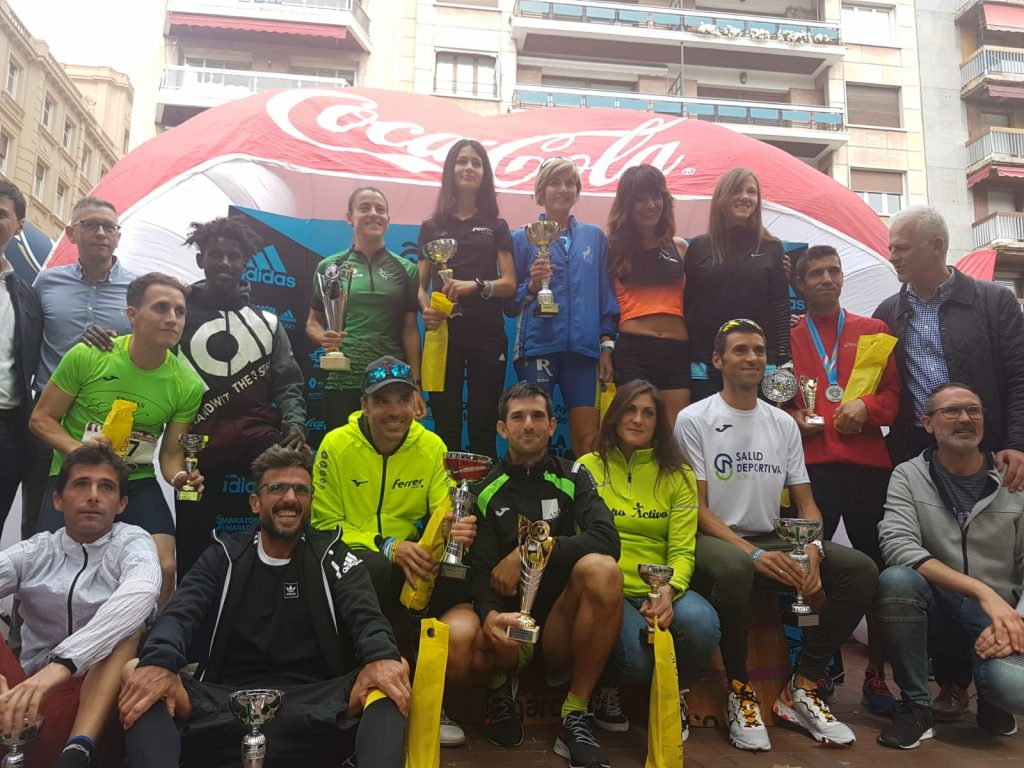 Barragán con los ganadores de la prueba de Logroño
