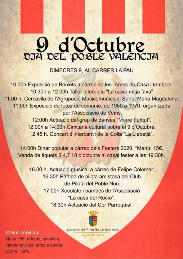 Immagine: poster delle attività Benitatxell dell'ottobre 9