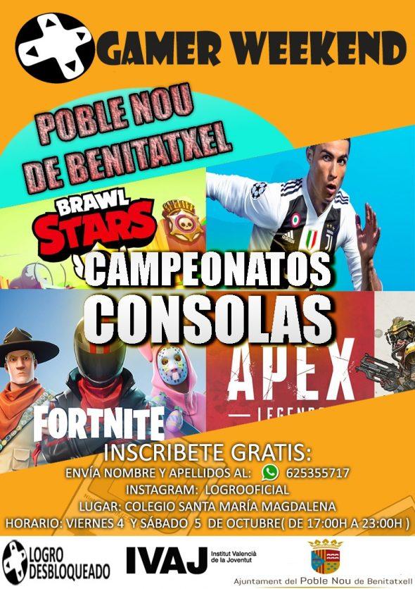 Imagen: Cartel del 'I Gamer Weekend' en Benitatxell