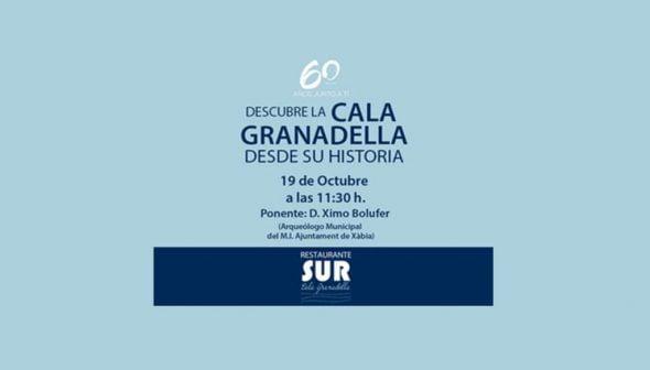 Imagen: Cartel ponencia sobre la cala Granadella y su historia - Restaurante Sur