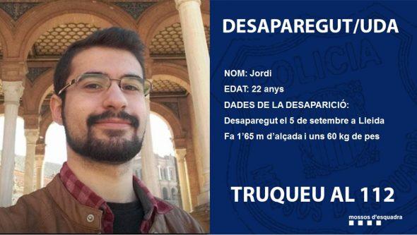 Imagen: Jordi, joven de la Marina Alta desaparecido en Lleida