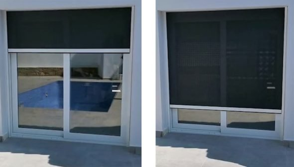 Image: Motorized screen in the process of closing - Alucardona Pvc y Aluminios SL