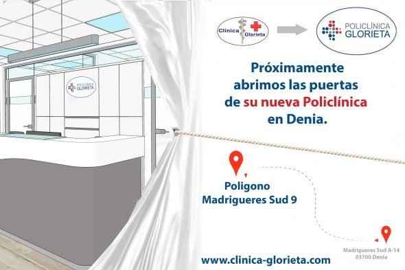 Imagen: Cartel de próxima apertura de Policlínica Glorieta en Dénia