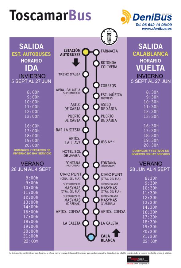 Imagen: Horario de la línea urbana Jávea-Toscamar