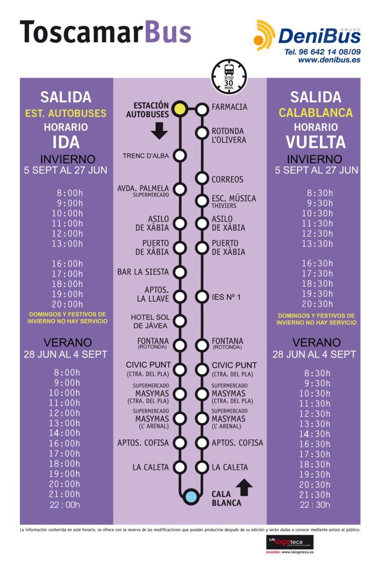 Horarios de los autobuses urbanos de Jávea