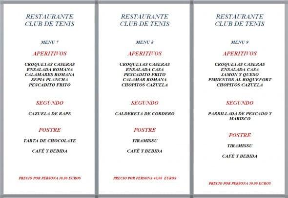 Imagen: Menús de empresa, opciones 7, 8 y 9 - Restaurante Club de Tenis Jávea